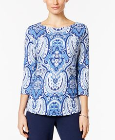19.98$  Buy here - http://vianl.justgood.pw/vig/item.php?t=7fun03g11952 - Paisley-Print Boat-Neck Top, Only at Macy's