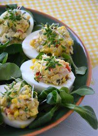 Jajka faszerowane z szynką Pavlova, Easter Recipes, Fresh Rolls, Tacos, Menu, Mexican, Ethnic Recipes, Impreza, Deviled Eggs