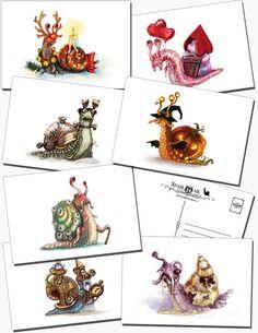 Snail Mail: Postcard set of 7 by KiriLeonard on Etsy