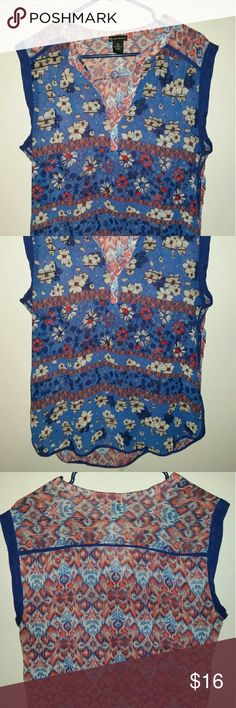 New Directions sleeveless top High low cut. Good condition with some minor piling. Fun print! new directions Tops Blouses