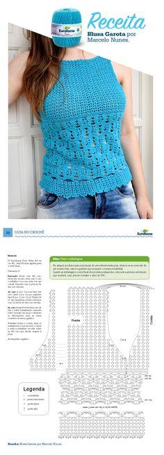 EuroRoma - Guia do Crochê Euroromaebook. Blusa Garota por Marcelo Nunes, com EuroRoma Fiore 500m 8/4 na cor 901 - Azul Piscina.