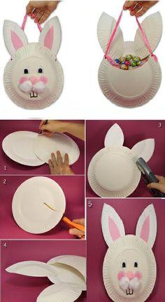 DIY Easter Bunny Bag Using Paper Plates
