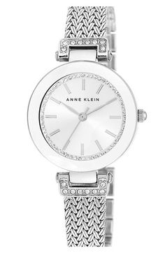 Free shipping and returns on Anne Klein Crystal Accent Mesh Strap Watch, 30mm at Nordstrom.com. Shimmering crystals frame the round sun-ray dial of an elegant watch set on a beautiful patterned-mesh strap.