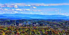 Downtown Knoxville and the Great Smoky Mountains, Tennessee, USA