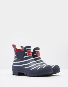 Wellibob French Navy Stripe Ankle Wellies  | Joules UK