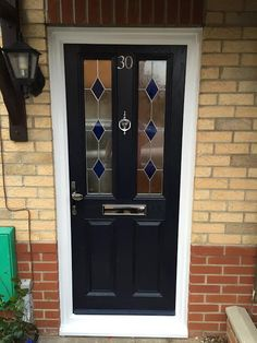 2 Panel 2 Square Drop Diamond Composite Front Door in Blue
