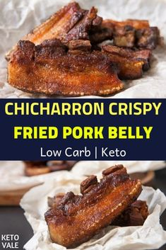 Keto Chicharron Fried Pork Belly Low Carb Recipe via Fried Pork Belly Recipe, Pork Belly Recipes, Meat Recipes, Low Carb Recipes, Cooking Recipes, Fried Pork Carnitas Recipe, Appetizer Recipes, Chorizo, Barbecue Pork Ribs