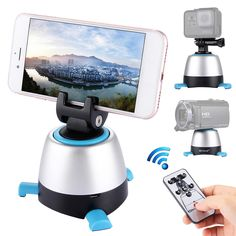 New 1 Pcs Electronic 360 Degree Rotation Panoramic Tripod Head with Remote Controller Desktop Mobile Phone Holder & Stands Photos Panoramiques, Zoom Hd, Iphone, Cctv Security Systems, Nikon Dslr Camera, Dslr Cameras, Smartphone Features, Phone Clip, P8 Lite