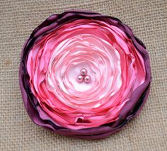 Pink Ombre Satin Flower via Etsy