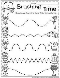 Healthy Teeth Worksheet for Preschool Dental Health Theme - Tracing. - Healthy Teeth Worksheet for Preschool Dental Health Theme - Tracing. Healthy Teeth Worksheet for Preschool Dental Health Theme - Tracing. Dental Activities For Preschool, Health Activities, Preschool Worksheets, Preschool Activities, Counting Worksheet, Healthy Crafts For Preschool, Counting Games, Space Activities, Preschool Body Theme