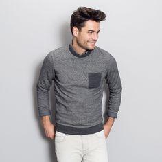 Sweat-shirt motif chevron poche contrastée Gris Chine Fantaisie Homme - Jules