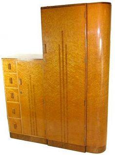 1930's Art Deco birds eye maple wardrobe combination set.