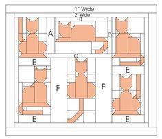 باترونات وحدات باتشوورك-patchwork units patterns (With images) Cat Quilt Patterns, Paper Piecing Patterns, Pattern Blocks, Patchwork Patterns, Sewing Patterns, Dog Quilts, Animal Quilts, Patchwork Quilting, Quilting Projects