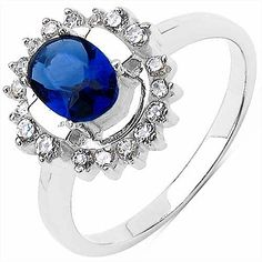 Blue & White Cubic Zircon .925 Sterling Silver Ring  Today's Best Value: Rs. 510