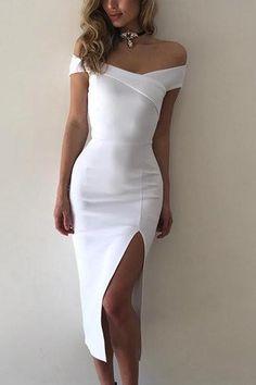 White Off Shoulder Front Slit Bodycon Dress