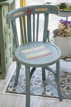 silla etnica, chair boho, tribal, chalk paint