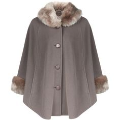 Jacques Vert Petite Faux Fur Trim Cape ($225) ❤ liked on Polyvore featuring outerwear, clearance, grey, petite, wool cape coat, grey cape, petite cape, cape coat and petite cape coat