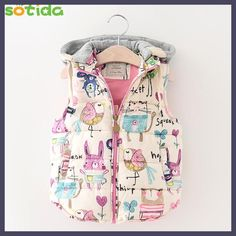 2017 New Children Clothing Winter Outerwear&Coats Animal Thick Princess Girls Vest Hooded Kids Jackets Baby Girl Warm Waistcoat