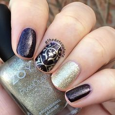 Brown and gold stamped party nail art. @zoyanailpolish Sansa as my main colour and did an accent with Tomoko Pixie Dust. Then stamped using #Cheeky Jumbo Plate 3 and @maybelline Color Show Metallic in Bold Gold on my middle finger.
