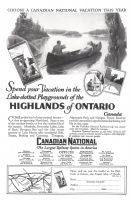 Canadian National Railways System 1927 Ad. Spend your vacation in the Lake-dotted Playgrounds of the Highlands of Ontario. Canada. Muskoka, Kawartha Lakes, Lake of Bays, Georgian Bay and the blue water country of Lake Huron offer wonderful Golf, Tennis, Bathing and Canoeing. Timagami, Algonquin Park and Nipigon Forest Reserve provide unexcelled opportunities for fishing and life in the open.