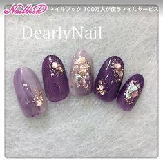 Cute and Romantic Valentine's Day Nail Art Designs Get Nails, Fancy Nails, Matte Nails, Nail Art Violet, Purple Nail Art, Nail Art Designs, Colorful Nail Designs, Korean Nail Art, Korean Nails