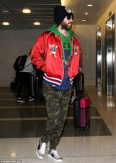 Not exactly incognito: Jared Leto rocked a very colorful ensemble to catch a flight from LAX Airport to Milan early Wednesday morning