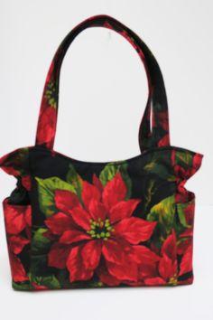 Poinsettia Red Bag, Quilted Handbag, Christmas Bag, Travel Handbag, Diaper Bag, Tote Purse, Top Handle Bag, Handmade Fabric Purse, Tote Bag by JustBeautiful161 on Etsy
