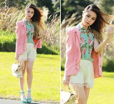 Happy 1 year! (by Chloe T) http://lookbook.nu/look/3718821-Romwe-Floral-Sleeveless-Shirt-Cream-Lace-Shorts