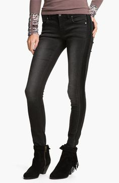Free People Faux Leather Trim Skinny Jeans (Abyss) available at #Nordstrom