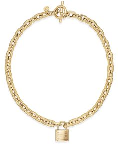 Michael Kors Chain and Padlock Pendant Necklace - Jewelry & Watches - Macy's