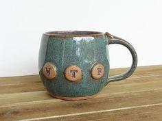 Pottery Mug in Sea Mist Glaze, Ceramic Coffee Cup, WTF