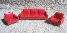 Rare Vintage Lundby Red lounge suite from 1950's