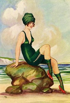 Vintage Postcard 1920s Bathing Beauty beach art