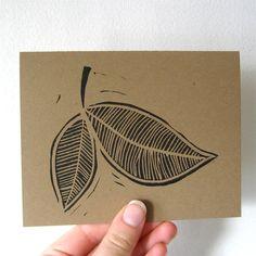 set of 3 linocut leaf cards. $6 from @laurawennstrom
