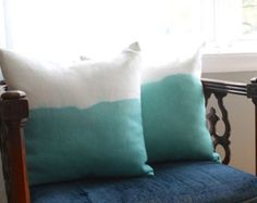 teal dip dye pillow   linen pillow cover   18 x 18 pillow cover   teal and white