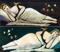 Niko Pirosmani Ortachali Beauty, Oil on canvas, 52 x 117 cm. State Art Museum of Georgia. Kandinsky, Art Visionnaire, Art Et Illustration, Greek Art, Art Archive, Naive Art, Visionary Art, Outsider Art, State Art