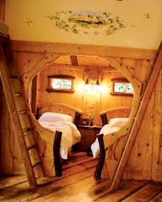 I'd have to do away with the twin beds and put in a big comfy bed Hobbit House Interior, Bed Design, House Design, Building A Treehouse, Bed Styling, Log Homes, The Hobbit, My Dream Home, Living Spaces