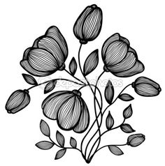 beautiful abstract black-and-white flower of the lines. Single isolated on white