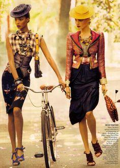 Jourdan Dunn and Anna Jagodzinska Vogue Feb. 2009. Photo by StevenMeisel.