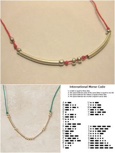 DIY Anthropologie Inspired Morse Code Necklace/Bracelet (DIY on top, lower left $38Anthro version here, lower right Morse Code Chart here). One of my favorite jewelry tutorials in recent memory. Send secret messages through your jewelry. Tutorial from one of my favorite sites: Thanks I Made It here. *Go to the tutorial to see how she gives you ideas of how to make this extremely cheaply!
