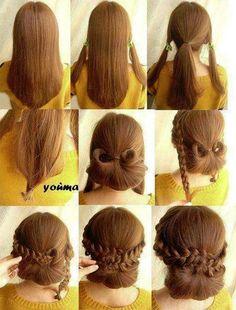 cute low braid bun updo