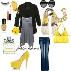 .yellow., created by fabiola-brown on Polyvore
