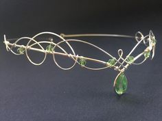 Elven Wedding Tiara Circlet with Green Peridot Crystals Crown Headpiece Medieval Renaissance Elven Wedding Tiara Circlet with Green Peridot Crystals Crown image 0 Crystal Crown, Circlet, Green Peridot, Fantasy Jewelry, Tiaras And Crowns, Messing, Jewelry Accessories, Bridal Accessories, Creations