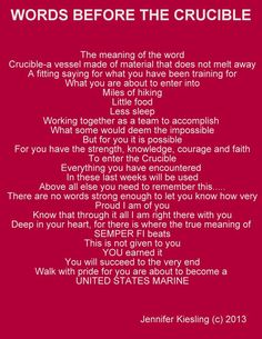 At my son and his brothers begin the final test of USMC boot camp, The Crucible, 54 hours of hell. Marine Mom Quotes, Usmc Quotes, Military Quotes, Military Mom, Military Party, Marine Corps, Marine Life, Marine Sister, Boot Camp Quotes