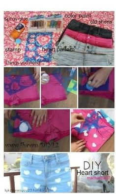 Shorts with stamp of hearts #DIY