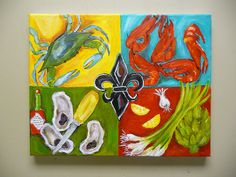 Original acrylic painting Louisiana Seafood Fleur by evesjulia12, $98.00