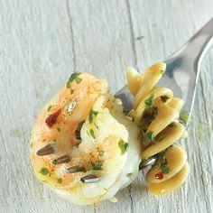 Garlic-Cilantro Shrimp Rotini (Clean Eating Mag).  I may substitute chicken for shrimp too.