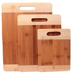 Bamboo Cutting Boards - Premium Small, Medium & Large Wood, Bamboo Chopping Board Sets by Ergo Kitchen Accessories (Light - 3 piece)