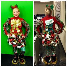 crazy christmas costumes Tip to toe ! Tacky Christmas Outfit, Homemade Ugly Christmas Sweater, Funny Christmas Costumes, Ugly Christmas Sweater Women, Christmas Sweaters, Christmas Clothing, Homemade Christmas, Fun Christmas Party Ideas, Christmas Crafts