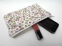 Makeup Bag Slim in Lilac White Wind Flowers by paisleybaby on Etsy, $15.00